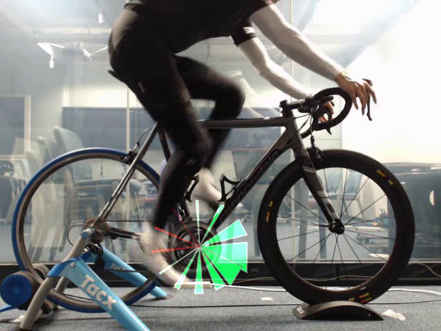 In-Situ Visualization of Pedaling Forces on Cycling Training Videos